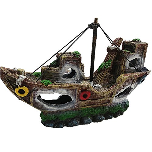 Stock Show 1Pc Polyresin Simulation Sunk Ship Wreck Aquarium Ornament Fish Shrimp Hiding Cave Decoration Fish Tank Landscaping, Brwon & White Pirate Boat