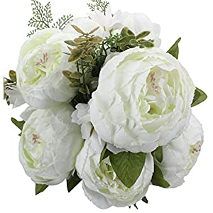 Duovlo Springs Flowers Artificial Silk Peony Bouquets Wedding Home Decoration,Pack of 1 (Spring White) 52