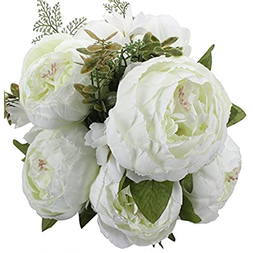 White peony flowers amazon duovlo springs flowers artificial silk peony bouquets wedding home decorationpack of 1 spring white mightylinksfo