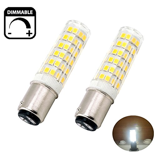 Bonlux 120V 6W Ba15d Dimmable LED Light Bulb 50W Equivalent Daylight 6000k Ba15d Double Contact Bayonet Base Halogen Replacement Bulb for Chandelier Crystal Ceiling Lamp Light (Pack of 2)