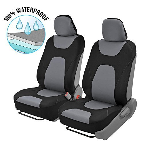 Motor Trend 3 Layer Waterproof Car Seat Covers - Modern Black/Gray Side-less Quick Install Auto Protection - OS-274-GR ()