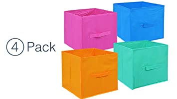 Colored Storage Bins   Storage Cube Organizer   Small Collapsible Storage  Cube (4) Closet