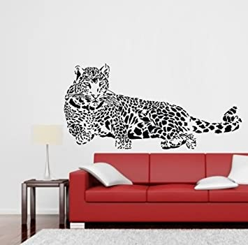 TGSIK DIY Leopard Laying Print Wall Decals Black Vinyl Removable Wild  Animal Cheetah Home Sticker For