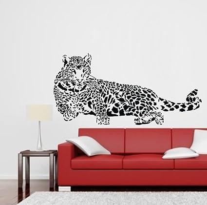 TGSIK DIY Leopard Laying Print Wall Decals Black Vinyl Removable Wild Animal Cheetah Home Sticker for  sc 1 st  Amazon.com & Amazon.com: TGSIK DIY Leopard Laying Print Wall Decals Black Vinyl ...