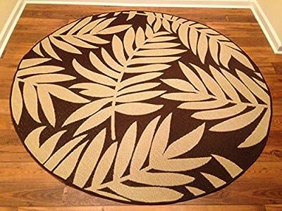 IMS 2607R7199bg/BR Floral Pattern Round Heavyweight Indoor Outdoor Rug, Beige Brown - 6 ft. x 6 in.