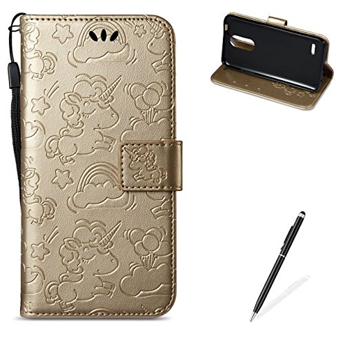 MAGQI for LG K4 2017 EU Version PU Leather Wallet Case with [Free 2 in 1 Stylus],Elegant Premium Flip Book Style Stand Function Shell and Unicorn Pattern Design Cover-Gold ()