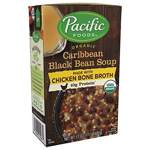 Pacific Foods Organic Bone Broth Caribbean Black Bean Soup, 10g protein per serving, hearty and flavorful, 12-pack