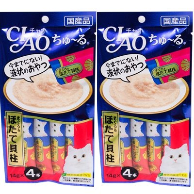 CIAO Chu ru Cat Food Lick Flavored white meat tuna and scallops 2 Pack (4 pcs / pack) by Ciao (Image #1)