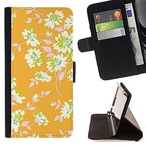 For HTC Desire 820 Case , Papel pintado floral verde deja- la tarjeta de Crédito Slots PU Funda de cuero Monedero caso cubierta de piel