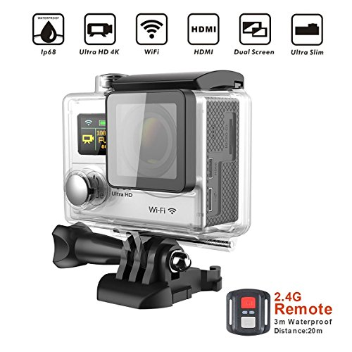YELIN Wifi Waterproof Sports Action Camera Dual-screen 4K 25fps/1080p 60fps 170 degree 6G Ultra-wide Angle Lens With Hero4 Waterproof Housing 2.4G wireless remote contro/2pcs1050mAh Batteries Included