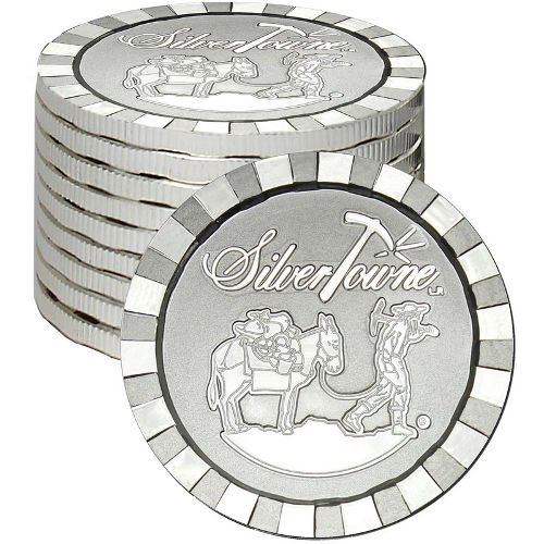 Golden Nugget Casino Chips (SilverTowne Stackable Prospector Silver Rounds (Silver, 1 oz))