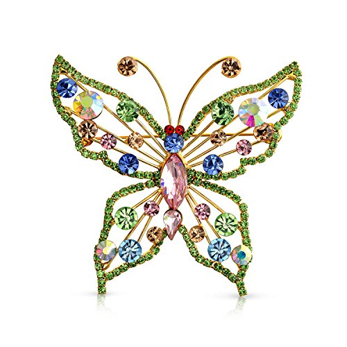 Bling Jewelry Large Fashion Crystal Multicolor Rainbow Statement Butterfly Brooch Pin for Women for Mother 14K Gold Plate Brass ()