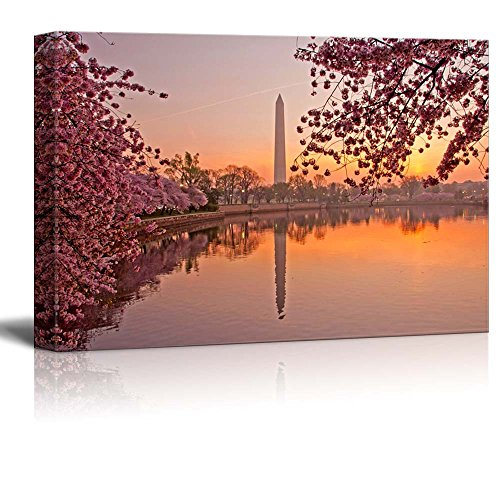 Canvas Prints Wall Art - Cherry Blossom Festival at the National Mall Washington, DC | Modern Wall Decor/ Home Decor Stretched Gallery Wraps Giclee Print & Wood Framed. Ready to Hang - 32