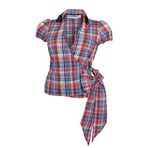 Trachtenbluse Wickelbluse Damen Bluse Tunika Corsage Kariert Rot Blau Grün