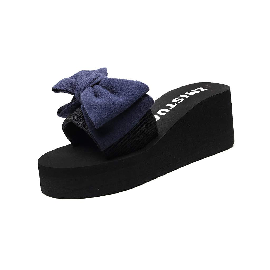 Wedge Platform Slippers for Women Bowknot Wedge Sandals Lightweight Slip on Shoes Casual Summer Outdoor Beach Shoes for Women /& Girls