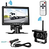 LeeKooLuu Wireless Built-in Backup Camera and 7 Display Monitor Kit Rear View Camera System Working 100 ft Guide Lines Optional Waterproof Night Vision for Truck/Motorhome/Trailers/Campe LKL-00108