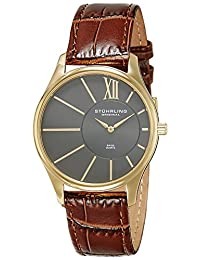 Stuhrling Original Men's 553.3335K54 Classic Cuvette SD Swiss Quartz Slim Gold-Tone Grey Dial Watch