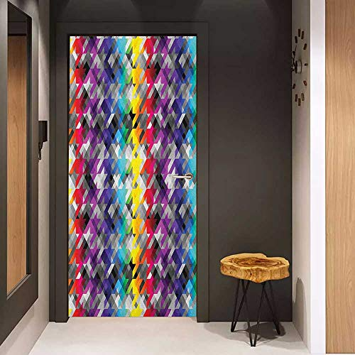 Door Sticker Colorful Diagonal Geometrical Houndstooth Pattern in Rainbow Colors on Gray Background Glass Film for Home Office W36 x H79 Multicolor