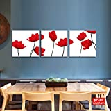BPAGO Modern Flowers Painting Wall Decor Landscape Paintings on Canvas Wall Art for Living Room Bedroom Home Office Bathroom Decorations 3pcs Stretched and Framed Ready to Hang (Red flower 36x12 Inch)