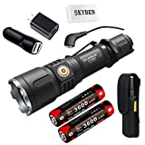 Klarus XT12S 1600 Lumens CREE XHP35 HI D4 LED Tactical Rechargeable Flashlight,Magnetic Charging Dual-switch Flashlight, with 2x18650 Battery, Wall Adapter,Car Charger and SKYBEN Battery Case