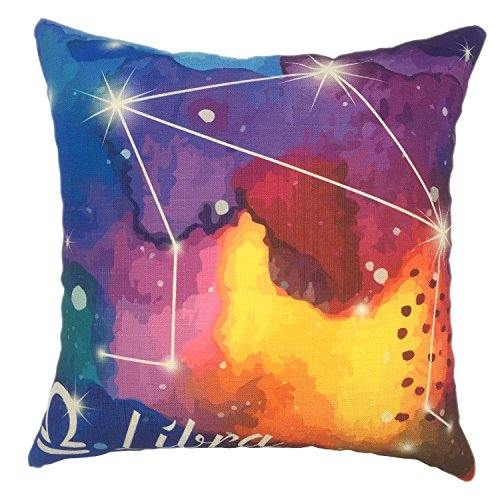Zodiac Libra (YOUR SMILE Starry Zodiac Cotton Linen Square Home Decorative Throw Pillow Case Cushion Cover 18