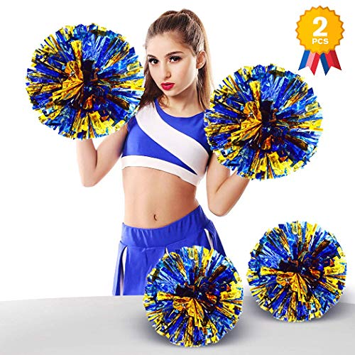 ANALAN 21 Colors Pack of 2 Foil Plastic Metallic Cheerleading Pom Poms for Cheer Sport Kids AdultsBlue and Gold