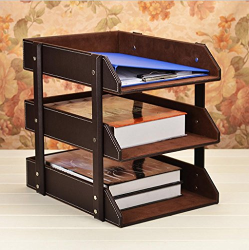 Filing Tier (GFYWZ Leather 3 Tier Office File Rack Document Filing Tray Case Desktop Desk Organizer Book Holder trays brown black , coffee)