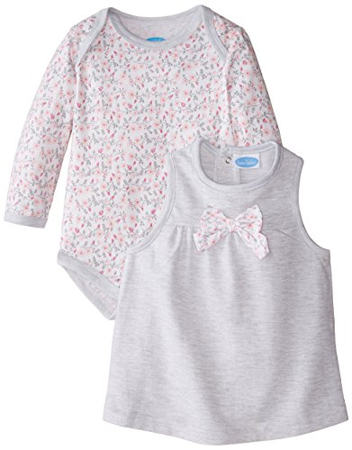 Infant Floral Rosette Bodysuit with French Terry Jumper Set, Multi, 18 Months (Bebe Rosette)