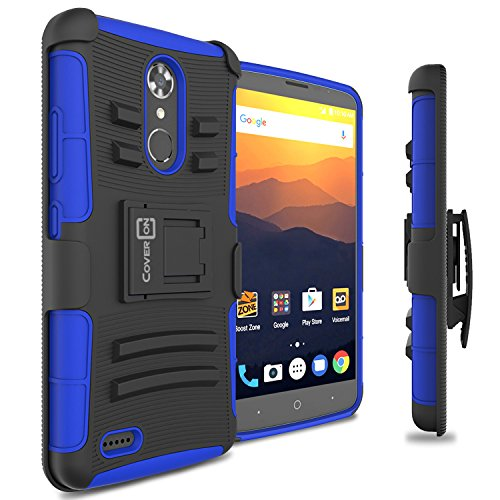 ase, CoverON [Explorer Series] Holster Hybrid Armor Belt Clip Hard Phone Cover for ZTE Max XL - Blue/Black ()