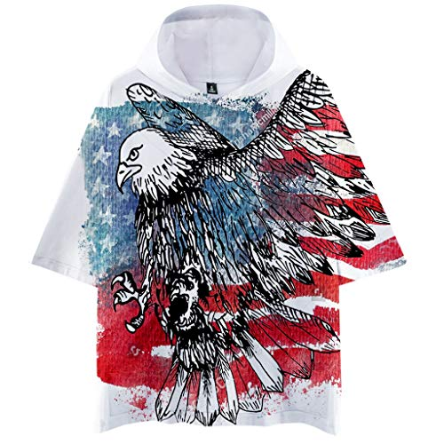 (Men Summer Hooded Flag Printed Sports Shirts Pure Large Size Male Blouse Tops)