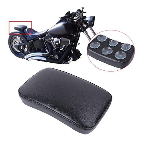 Jade onlines Motocicletas Negro Pillion Pad Asiento 6Copa de succión para Harley Dyna Sportster Softail Touring