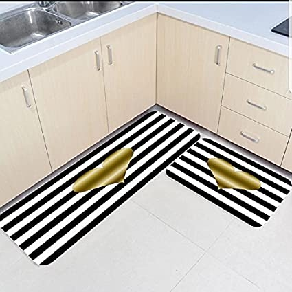 Amazon Com Sun Shine 2 Piece Kitchen Mats And Rugs Set Black And