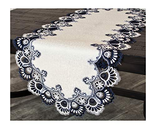 Linens, Art and Things White Navy Blue Jacquard Peacock Tail Lace Dresser Scarf Table Runner Coffee Table Runner 16 x 44 inches Approx