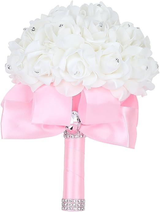 Amazon Com Febou Wedding Bouquet Big Size Pink Bridesmaid