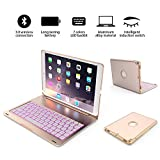 iPad pro 10.5 Bluetooth keyboard case, Wireless Bluetooth Keyboard Cover for gold iPad pro 10.5 inch(A1701/A1709), Fit Protective Hard Shell Case 7 Colors LED Backlit, thin / light / portable (Golden)