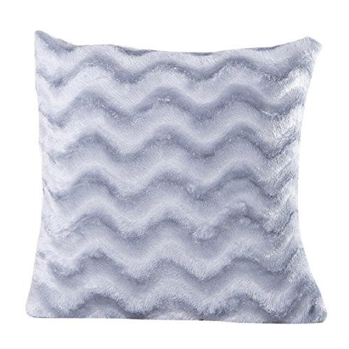 [Ikevan Wave Soft Plush Pillowcase Square Pillow Case Sofa Waist Throw Cushion Cover Home Decor (18