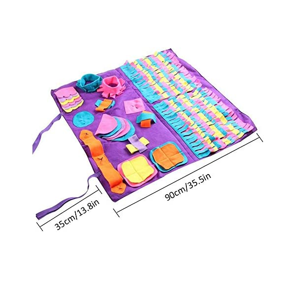 Pet Snuffle Mat Dog Foraging Mat Non-slip Dog Sniffing Mat Feeding Mats Training Mats Pet Training Feeding Stress Release Pad Nosework Blanket Washable Soft Interactive Puzzle Toy for Dog Cat 90cm 2