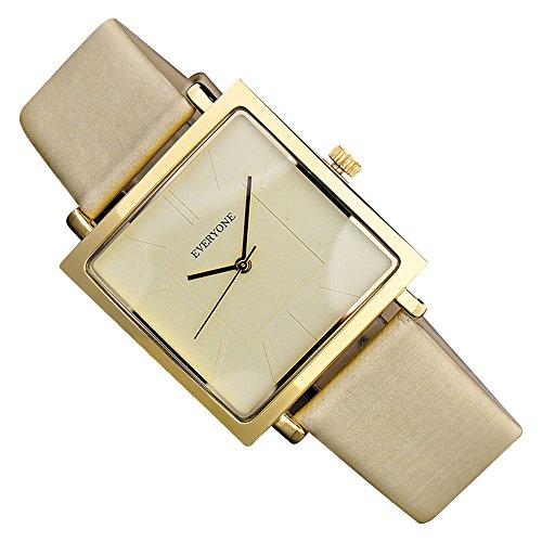g Square Dial Leather Band Analog Quartz Wrist Watch Gift Gold (Leather Square Analog)