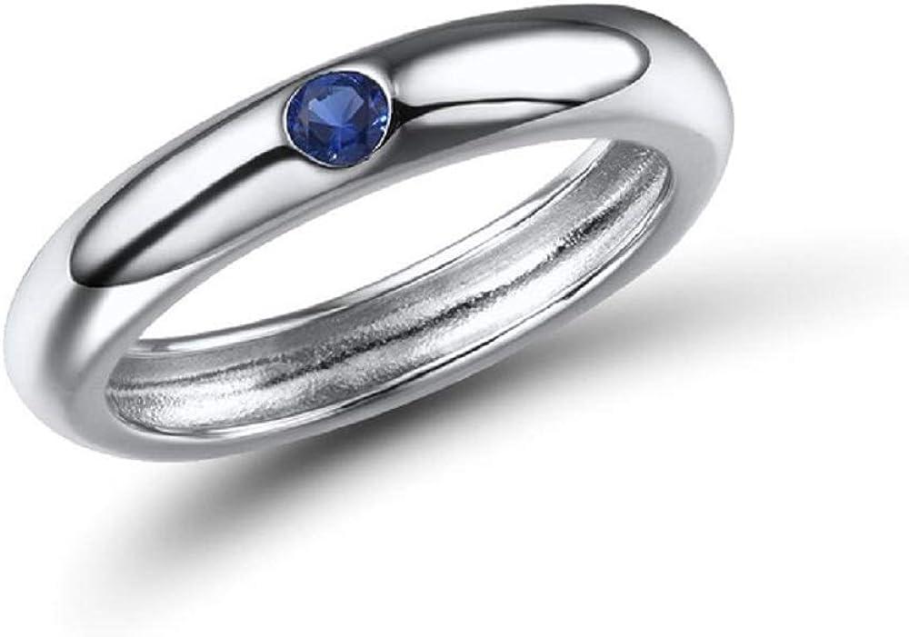 XJJJ Anillo Anillo apilable de Piedras Preciosas Multicolores de Plata esterlina para Mujer Accesorios de Moda 7 Piedra Azul