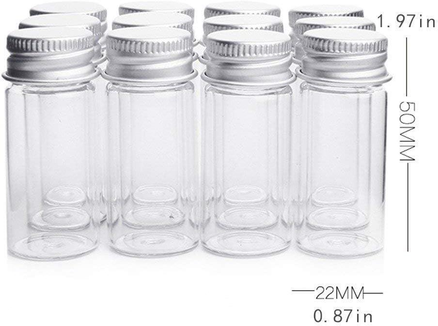 muestras de boda o decoraci/ón de bodas botes de muestra vac/íos y fuertes contenedores peque/ños para botellas Danmu Art Vials Botella de cristal transparente con tapa de tornillo de aluminio 10 ml