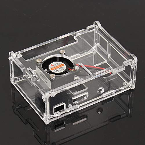 (Transparent Case Shell Enclosure Box with Fan For Raspberry Pi 3B/2B/B+ - Arduino Compatible SCM & DIY Kits Raspberry Pi & Orange Pi - 1X Transparent Acrylic Case Box For Raspberry Pi 3)