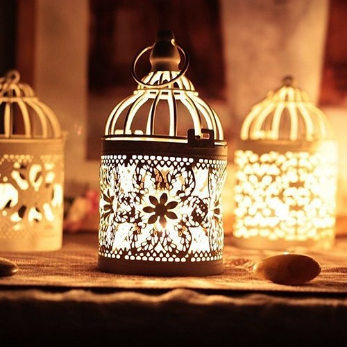 dezirZJjx Mini Micro Landscape,Vintage Moroccan Style Hanging Lantern Hollow Candle Stand Holder Home Decor- Best Indoor Outdoor Decorations for Patio Yard Office and House