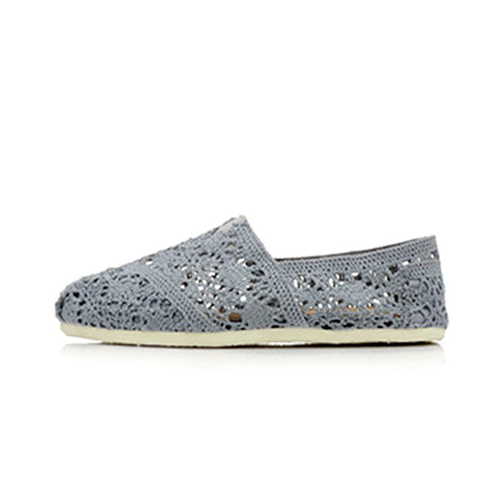 MODEOK Solid Color Hollow Shoes Womens Breathable Canvas Shoes