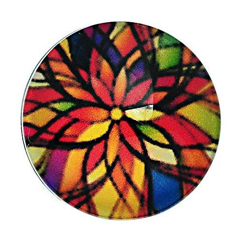 Godagoda Multicolor Round Glass Flowers Pattern Snap Button Fit DIY Bracelets 18mm