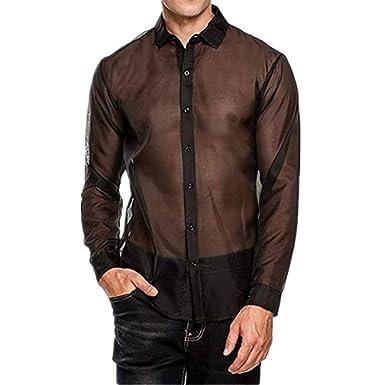 YiZYiF Herren Slim Fit Transparent T Shirt Tops Unterwäsche Reizwäsche Langarm  Unterhemd Netzhemd Shirt Clubwear Nachtwäsche M L XL  Amazon.de  Bekleidung e9fe3f9fdd