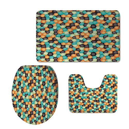 Narrow Oval Shaped Natural (iPrint Fashion 3D Baseball Printed,Geometric,Grunge Colorful Circles with Hazy Effects Odd Disc Shaped Ovals Retro Design Decorative,Multicolor,U-Shaped Toilet Mat+Area Rug+Toilet Lid Covers 3PCS/Set)