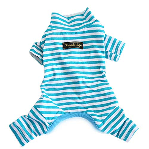 Hdwk&Hped Soft Cotton Dog Pajamas, Light Blue Stripes Small Dog Puppy Cat Jumpsuit Style #1 (Body Suit For Dogs)