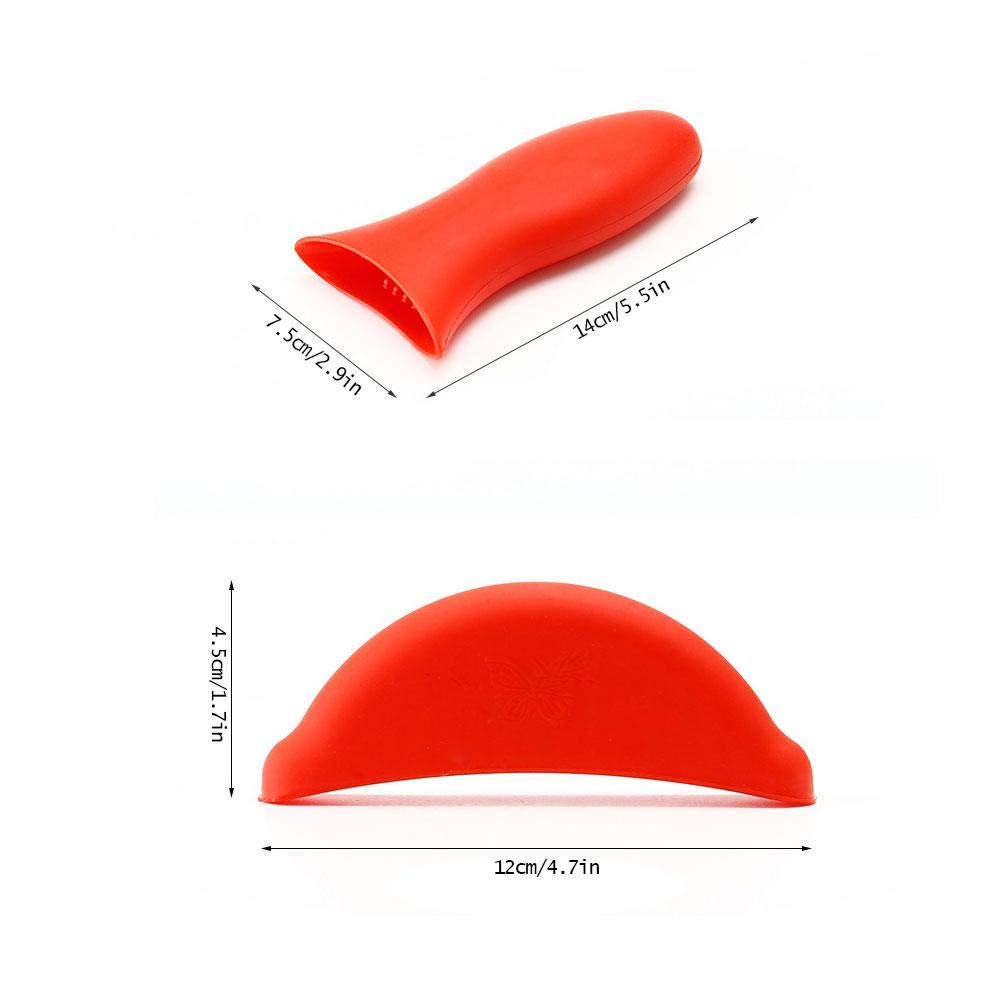 Heat Protecting Silicone Anti-Hot Non-Slip Pot Handle for Cast Iron Skillets KOBWA 3 Pack Silicone Hot Handle Holder 1 Long Holder and 2 Semicircular Handle Cover