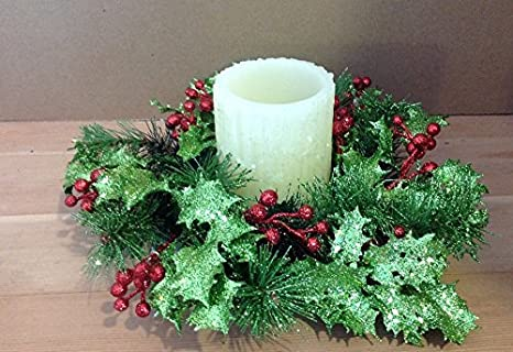 Christmas Candle Rings.Glittered Holly Christmas Candle Ring 10 Inch Ring Fits A 3 Inch Pillar Candle Not Included Holiday Christmas Centerpiece