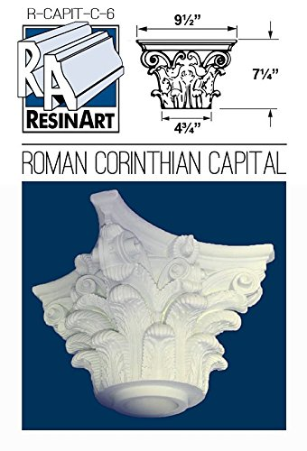 Fiberglass Columns (Roman Corinthian Capital for 6 Inch Hollow Round Tapered Columns - Load Bearing Fiberglass - Unfinished and ready to paint.)